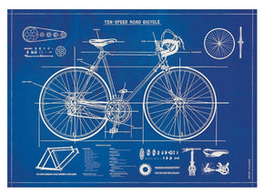 Cavallini Bicycle Blueprint Wrapping Paper Poster