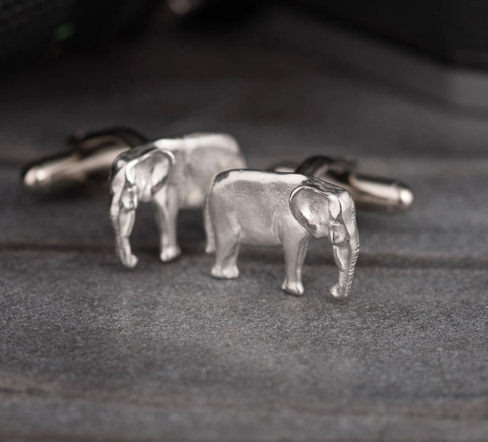 Pewter Cufflinks by Lancaster & Gibbings (Elephant)