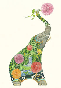 Card - Elephant with flower by Daniel Mackie
