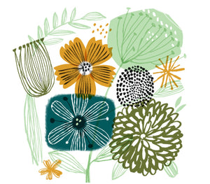 Card - Green Floral by Gillian Martin