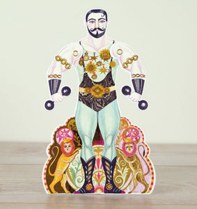 Card - Alexander Die cut Strongman with moving arms by Sarah Young