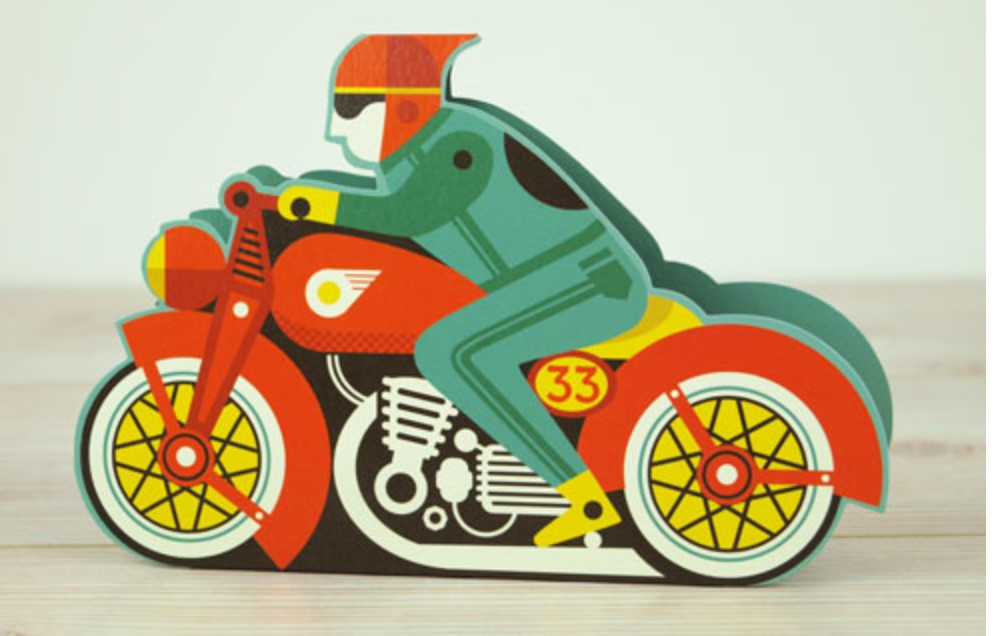Card - Motorbike - Die cut 3D card by Tom Frost