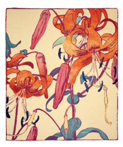 Card - Tiger Lilies Woodcut by Mabel Royds