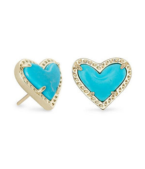 Load image into Gallery viewer, Kendra Scott Ari Heart Gold Stud Earrings In Turquoise Magnesite