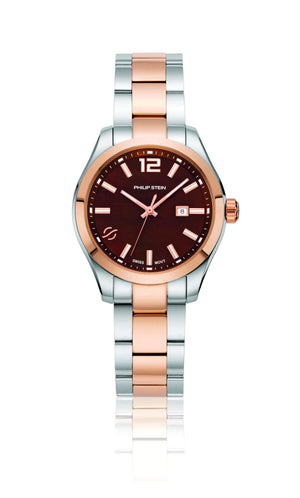 Philip Stein Traveler 36mm Two-tone Brown Dial Watch