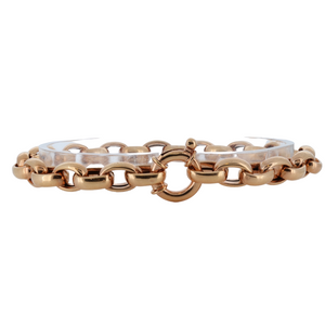 Monarch Oro 14Kt Rose Gold Semi-Hollow Link Bracelet With Toggle Lock
