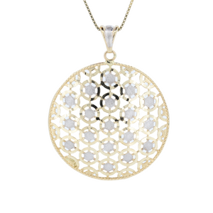 Monarch Oro 14K Two Tone Round Pendant, High Shine And Satin Finish