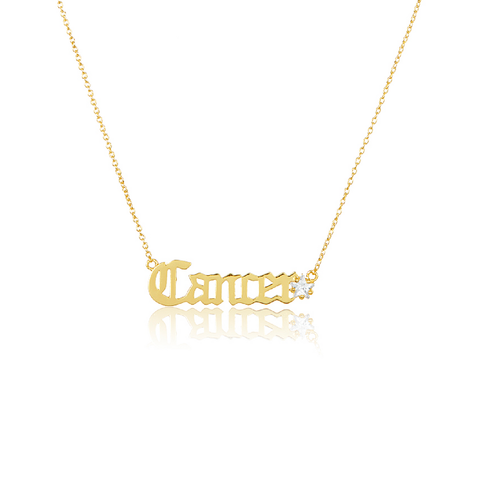 Melinda Maria Jewelry Zodiac Script Necklace Cancer
