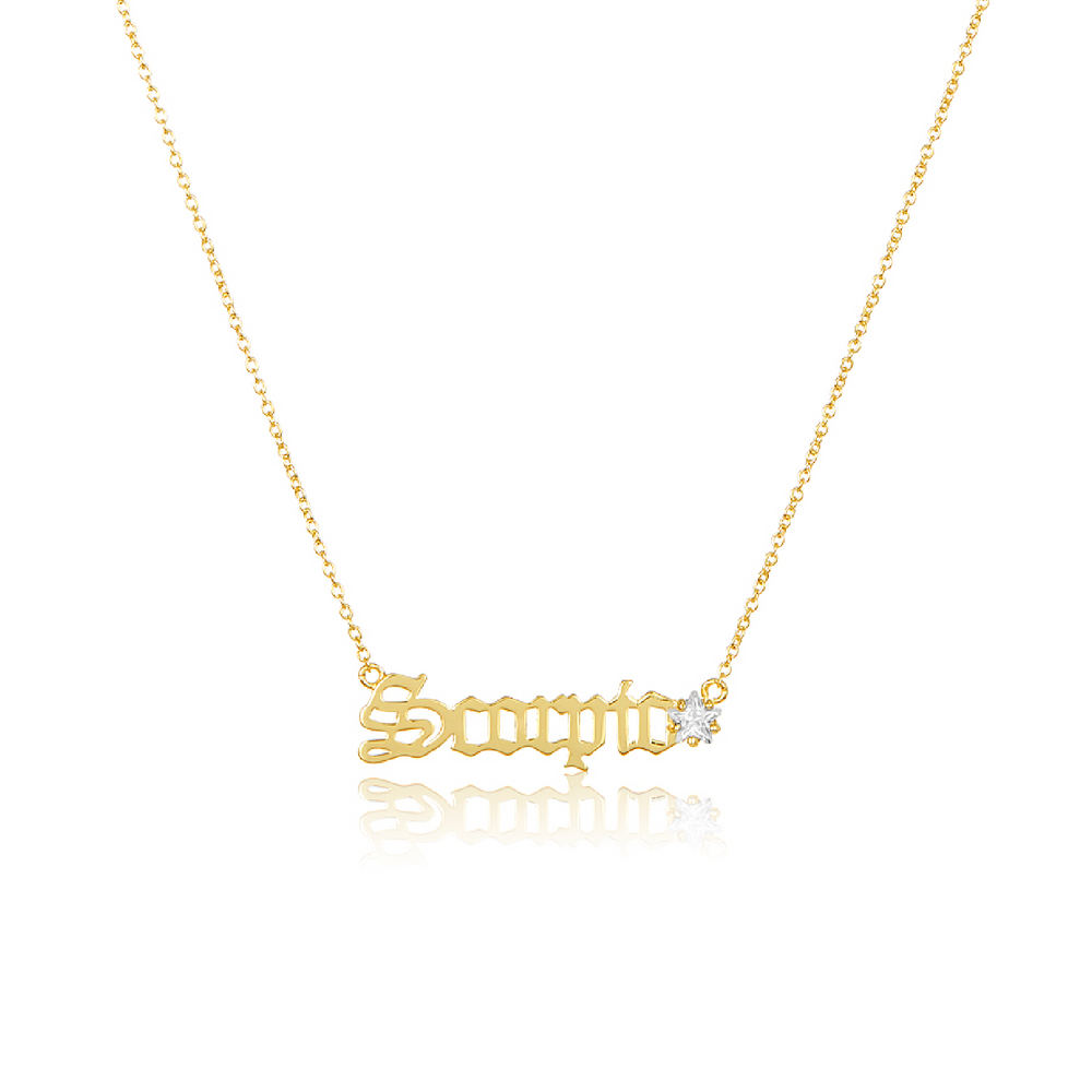 Load image into Gallery viewer, Melinda Maria Jewelry Zodiac Script Necklace Scorpio