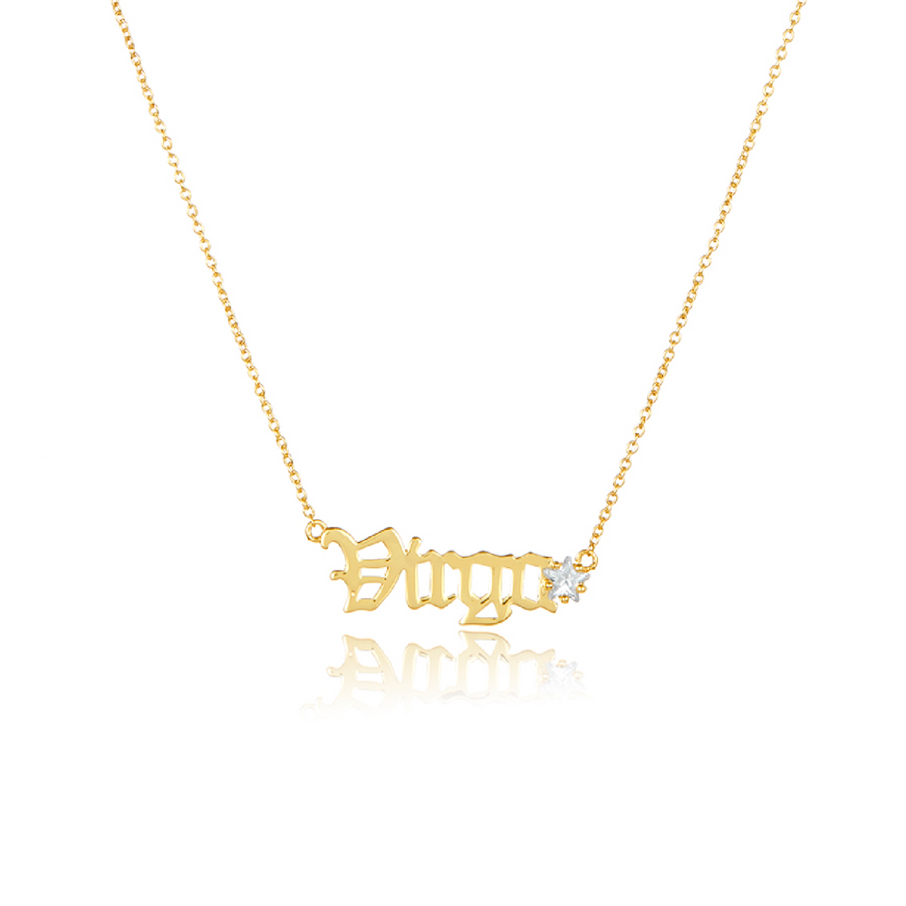 Melinda Maria Jewelry Zodiac Script Necklace Virgo