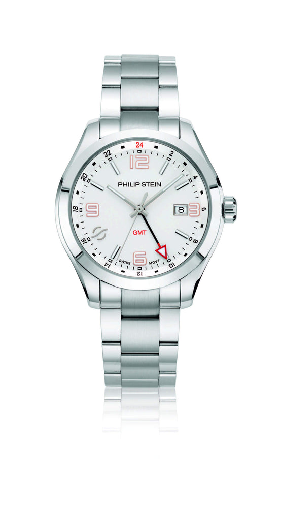 Load image into Gallery viewer, Philip Stein Traveler 42mm White Dial GMT Watch