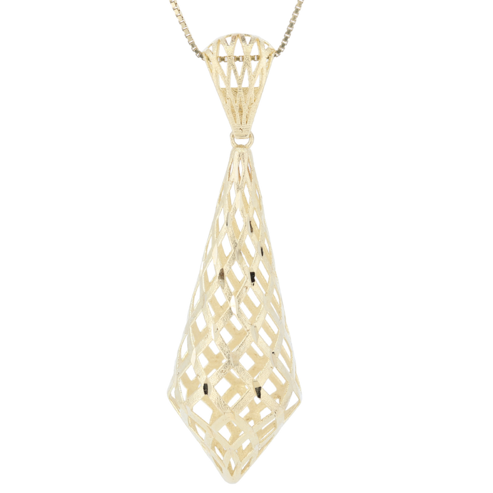 Monarch Oro 14K Fancy Gold Pendant With Diamond Cut And Matt Finish In Yellow Gold