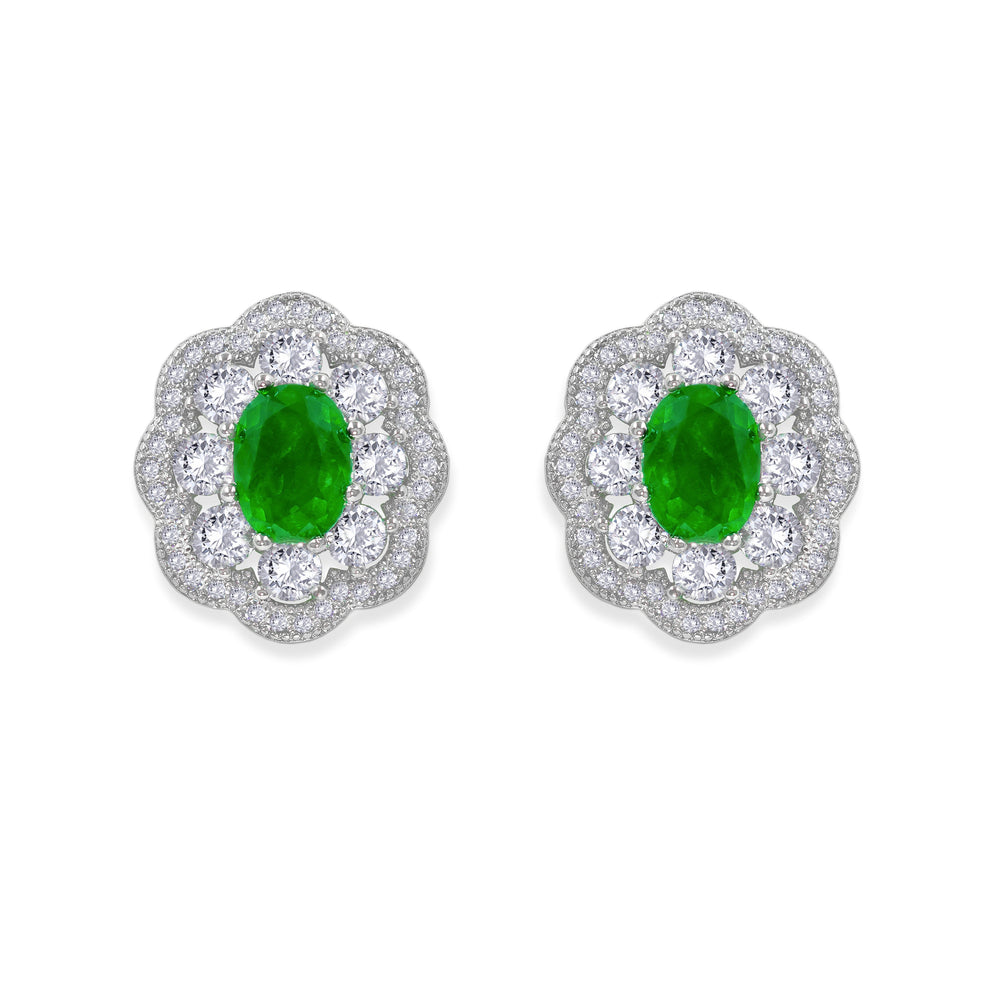 Victoria 10 Earrings Emerald Green - Anna Zuckerman Luxury