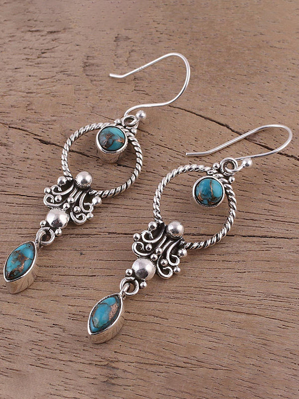 Vintage Inlaid Turquoise Earrings