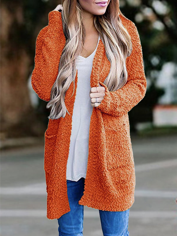 Solid Color Grainy Fluff Long Cardigan