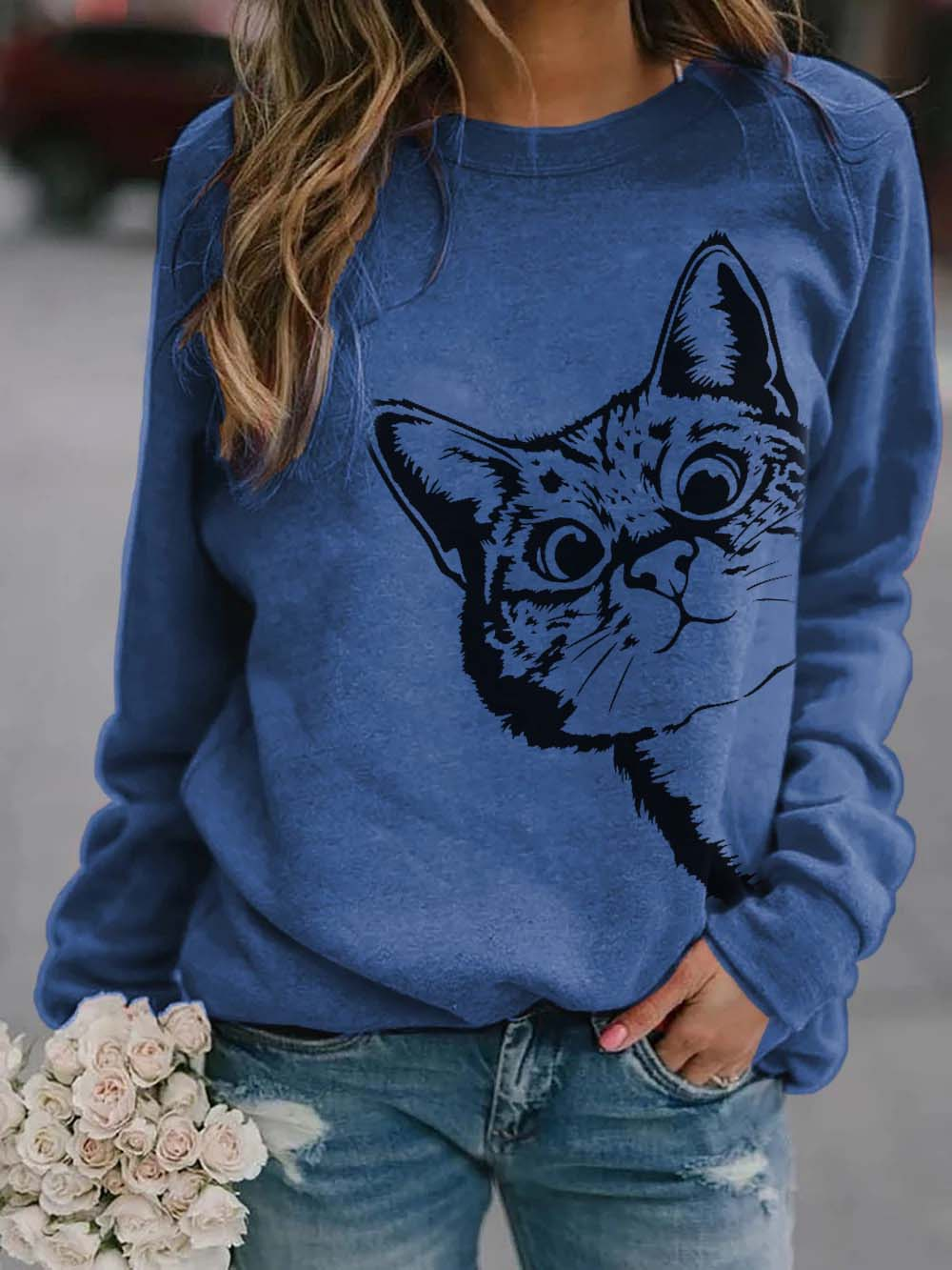 Women's Hide and Seek Cat Print Sweatshirt