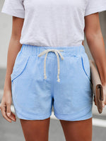 Load image into Gallery viewer, Women's cotton and linen drawstring elastic waist casual shorts