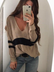 Striped Stitching Short Front And Long Back V-Neck Sweater