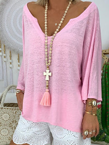 Pure color V-neck versatile loose long-sleeved top