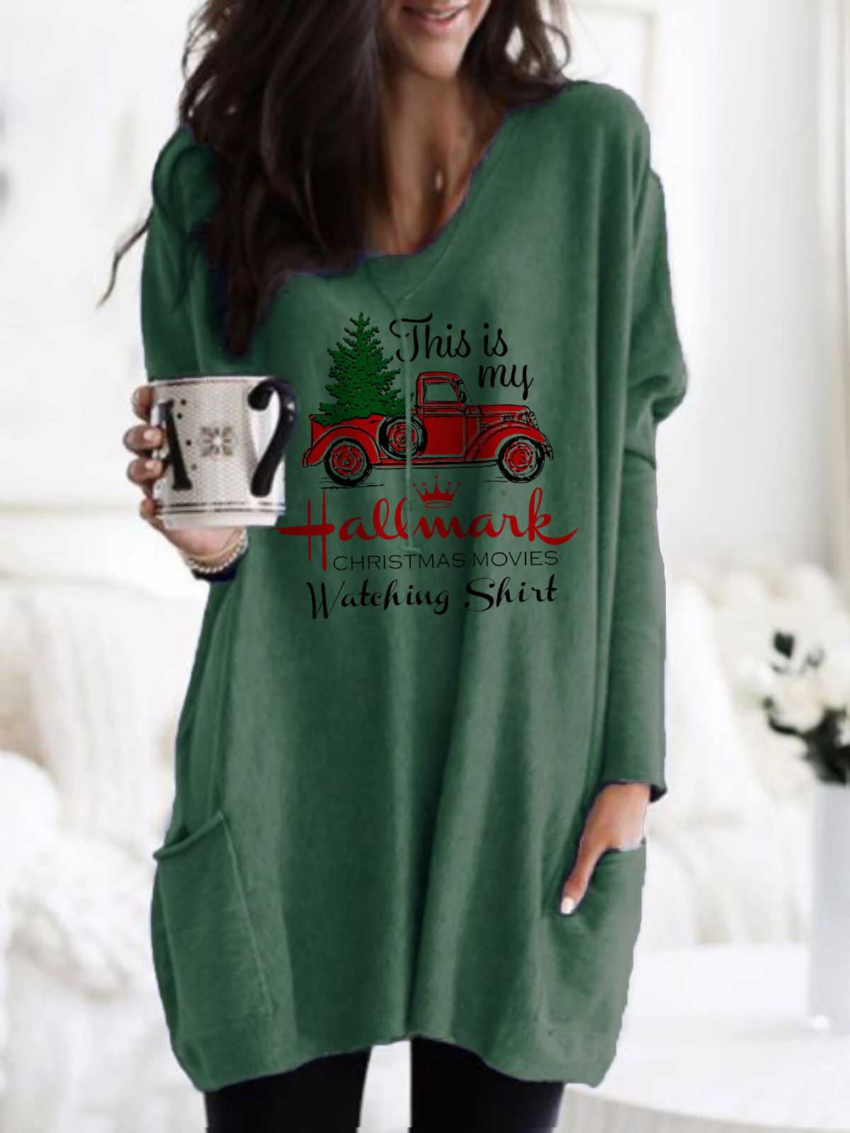 Women's This Is My Hallmark Christmas Movies Watching Shirt Printed Pocket Top