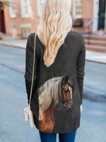 Load image into Gallery viewer, Women's Horse Print Casual Cardigan
