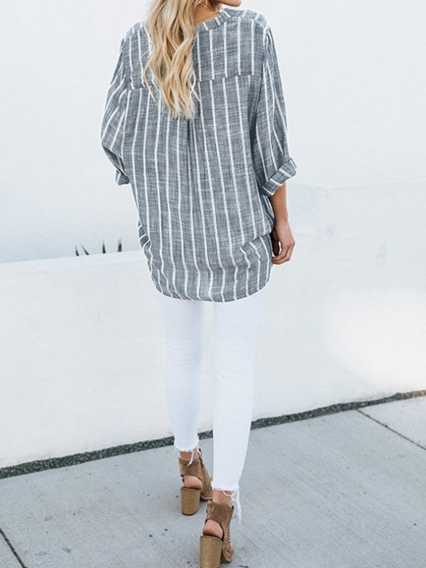 Women's cotton and linen striped irregular long-sleeved shirt