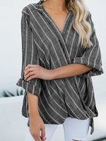 Load image into Gallery viewer, Women's cotton and linen striped irregular long-sleeved shirt