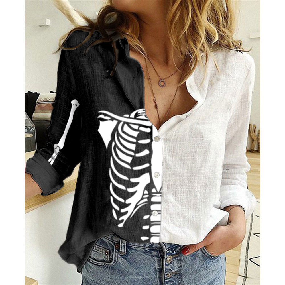 Women's Halloween Skeleton Bust Print Long Sleeve Shirt