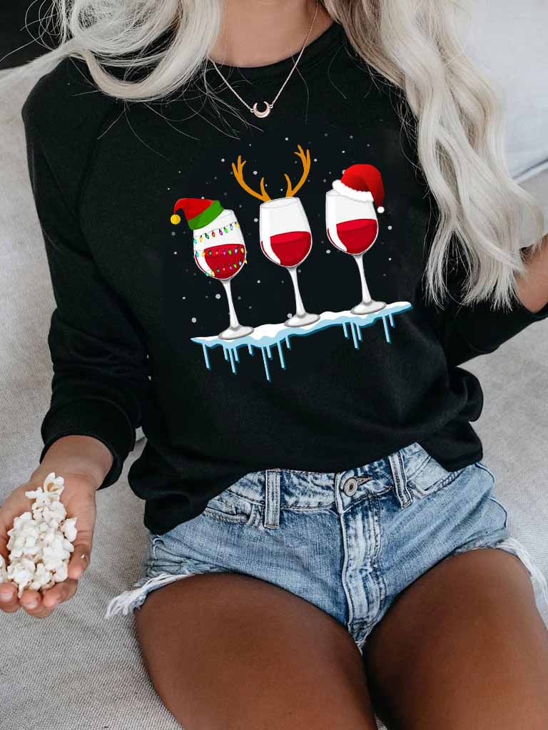 Women's Christmas Red Wine Glass Print Sweatshirt
