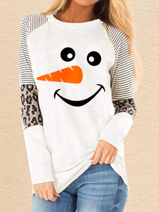 Women's Christmas Snowman Smiley Face Printed Leopard Stitching Casual Sweatshirt