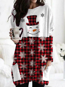 Ladies Christmas Snowman Face Print Snowflake Check Pocket Top