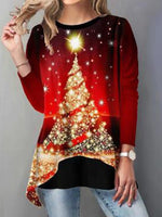 Load image into Gallery viewer, Asymmetrical Hem Christmas Tree Printed T-Shirt