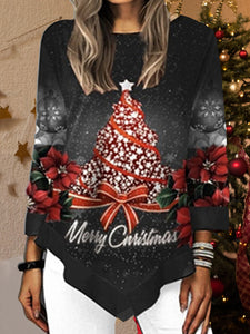 Christmas Tree Printed Asymmetrical Hem T-Shirt