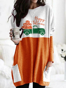 Women's Happy Halloween Truck Pumpkin Round Collar T-shirts