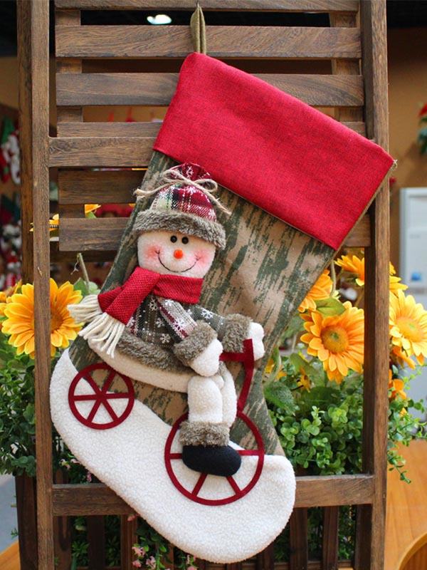 Christmas Santa Snowman Christmas Stocking Gift Bag