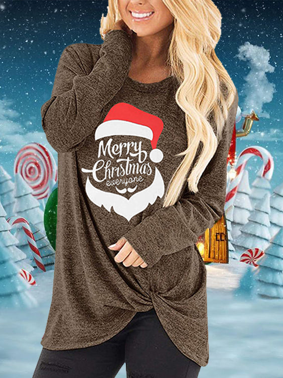Merry Christmas Everyone Christmas Hat Print Hem Knot T-Shirt