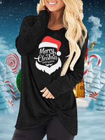 Load image into Gallery viewer, Merry Christmas Everyone Christmas Hat Print Hem Knot T-Shirt