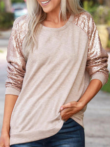 Party Holiday Collage Sequined Long Sleeved Round Neck T-Shirt