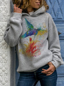 Women's bird print autumn/winter hooded sweater