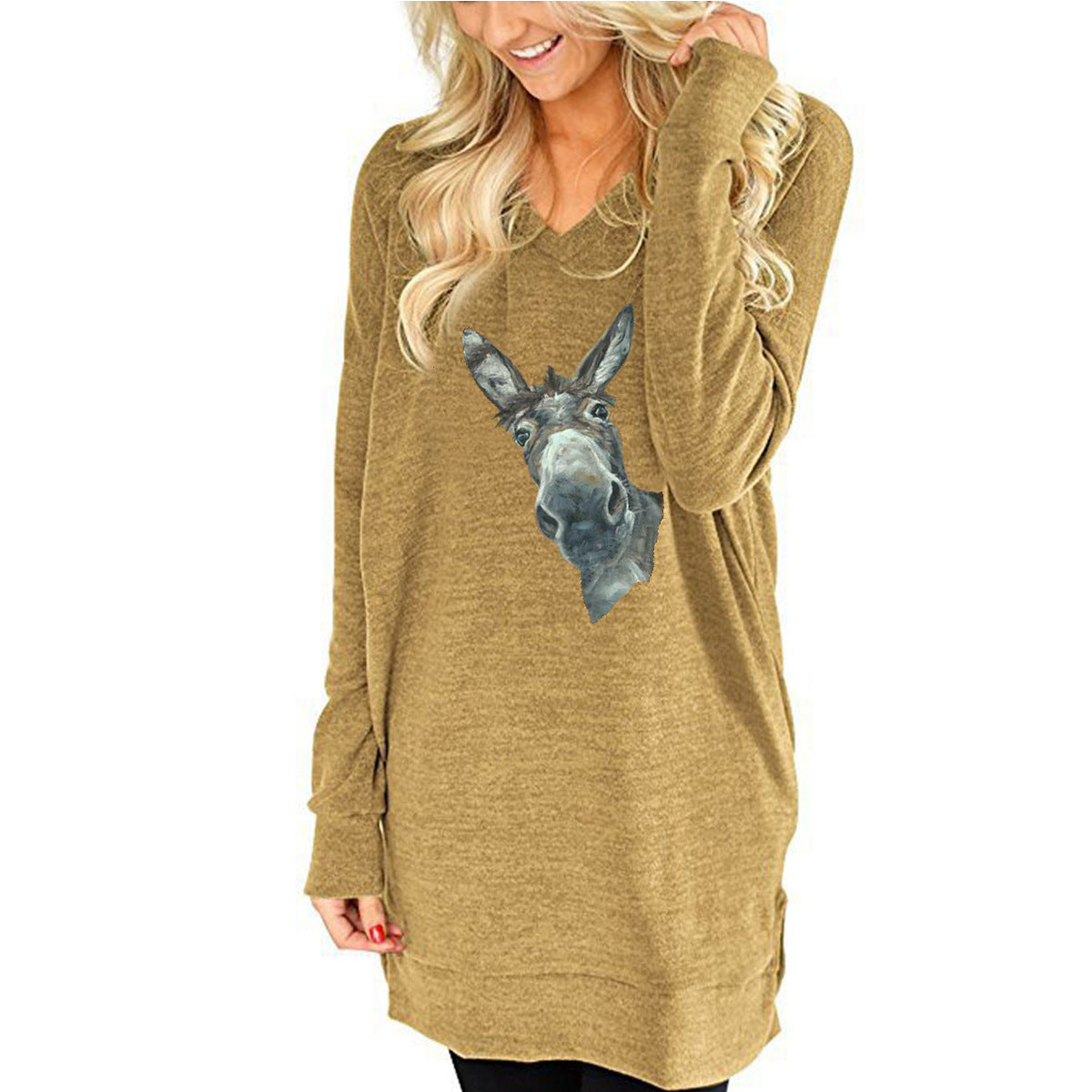 Women's Long Loose Animal Print Casual Long Sleeve Round Neck T-Shirt