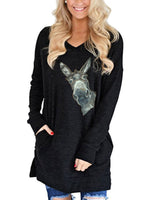 Load image into Gallery viewer, Women's Long Loose Animal Print Casual Long Sleeve Round Neck T-Shirt