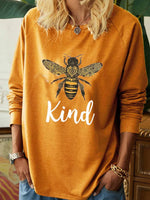 Load image into Gallery viewer, Bee kind English graphic print casual long-sleeved T-shirt