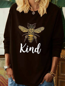Bee kind English graphic print casual long-sleeved T-shirt
