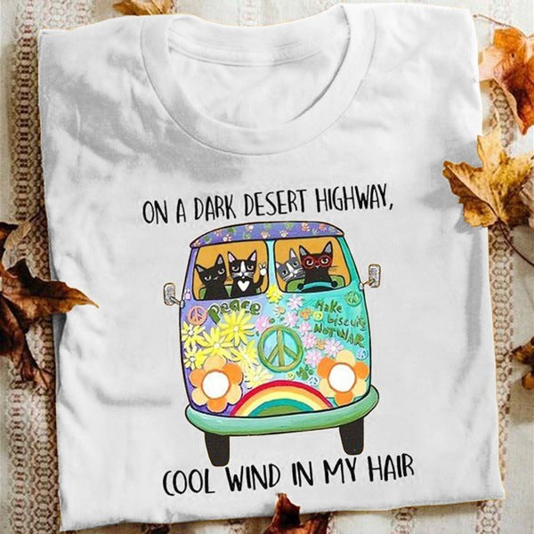 Ladies cool wind in my hair letter print casual cartoon car and cat print short sleeve top