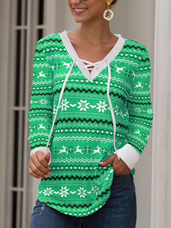 Ladies Christmas Printed V-Neck Tie Top