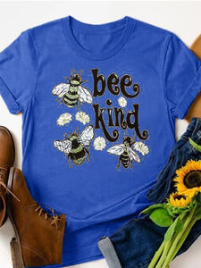 Women's BEE KIND bee graphic print T-shirt