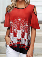 Load image into Gallery viewer, Christmas Santas Cold Shoulder T-Shirt