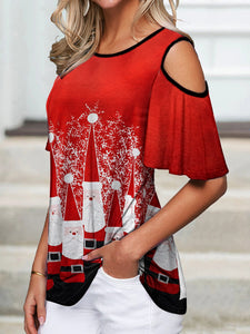 Christmas Santas Cold Shoulder T-Shirt
