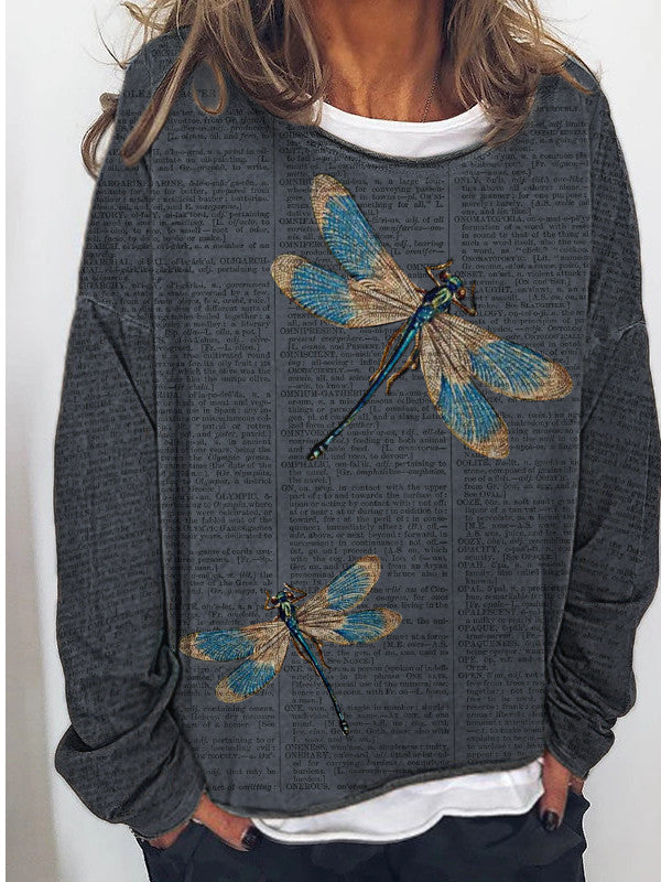 Ladies dragonfly print patchwork top