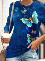 Load image into Gallery viewer, Women's blue butterfly print long-sleeved sweater